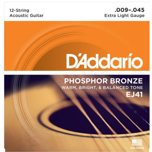 Daddario Acoustic Strings Extra Light Phosphor Bronze 12-STRING 009 - 045/026